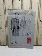 Vintage 1940's Butterick Women's Coat Pattern UNUSED 9421 Sz 16/ B34