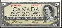 1954 Canada $20 Banknote * C/E 8080026 * VF+ * P-70b * Devil's Face * Hairdo *
