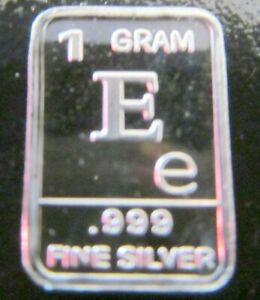 USA 1gr .999 Fine Silver Art Bar - letter 'E'  - NEW & UNCIRCULATED