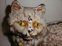 """10"""" ANTIQUE HUBLEY CAST IRON   CAT DOORSTOP DOOR STOP"""