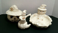 3 Lenox Halloween Figurines Scarecrow  Dish Ghost Pumpkin Jack O Lantern Lovely