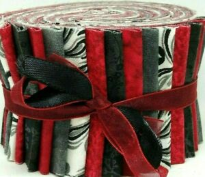 """Jelly Roll Strips Quilting Fabric 20~2.5"""" Red Black Gray White 100% Cotton Sew"""
