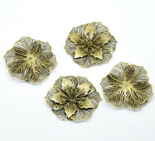 New 10 Bronze Tone Filigree Flower Scrapbook Embellishments Finding 5.5x4.8cm