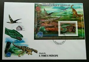 [SJ] Sao Tome Dinosaurs And Minerals 2000 Prehistoric Stone (miniature FDC A)
