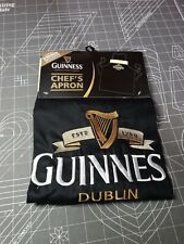 Guinness Official 100% Cotton Black Chef's Apron With Harp Design New W/O Tags