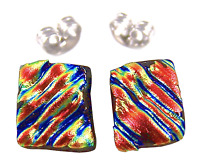 """DICHROIC Earrings Copper Orange Red Ripple Striped Textured Post 1/4"""" 10mm STUD"""
