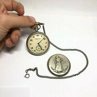 Ural Tale MOLNIJA Vintage Rare Pocket Analog Watch USSR Mechanical Original Gift