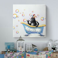 Wall Art for Bathroom Hand-Painted Animal Oil Painting Colorful for Kids Room