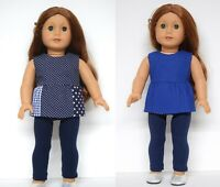 18INCH DOLL CLOTHES~REVERSIBLE TOP & LEGGINGS FITS OUR GENERATION AMERICAN GIRL