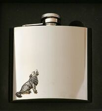 Wolf Design Stainless Steel Hip Flask Gift Boxed New