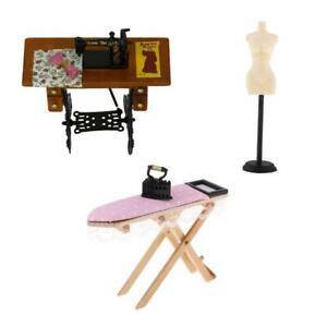 1:12 Dollhouse Miniature Iron Set, Sewing Machine & Model Stand DIY Accs