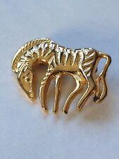Vintage Zebra Pin Gold Tone, Unsigned, Animal Pin, Animalia