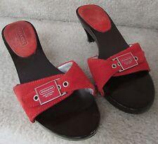 Coach Julieth Orange Suede Clasp Mules Clog Heel Shoes Size 5B Q038