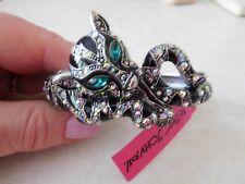 NWT Betsey Johnson Jaguar Black / Crystal Hinged Cuff Bracelet /SilverTone