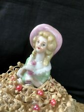 Antique Porcelain Half-Doll Pin Cushion Boudoir Doll, Dressed