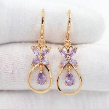 18K Yellow Gold Filled Women Fashion Purple Mystic Topaz Flower Dangle Earrings