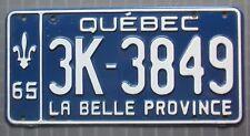 Quebec 1965 License Plate HIGH QUALITY # 3K-3849