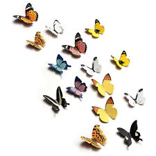 15X DIY 3D Butterfly Wall Stickers Art Decal Paper Butterflies Home Decor SD