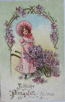 """ Pentecost, Children, Wheelbarrow, Flowers "" 1903 (8379)"