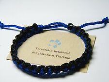 Authentic Thai Blessed Buddhist Wristband Fair Trade Wristwear Black & Blue