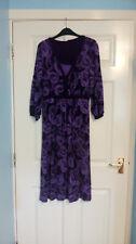 Monsoon Ladies 3/4 Quarter Sleeve Black Purple Tunic Floral Dress UK Size 14
