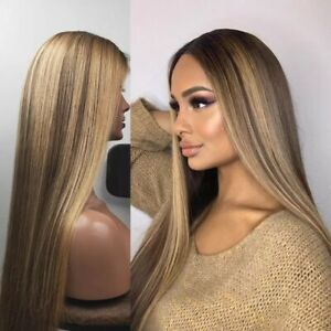 8A 180 Density 13x6 Lace Unprocessed Brazilian Ombre Highlight Human Hair Wig