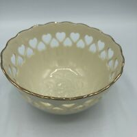 "LENOX China IVORY Gold Trim BOWL Heart Pierced/Embossed Rose 5.5"" Valentine"