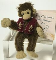 "Deb Canham Limited Edition CHUCKLES Miniature 3.5"" Mohair Sitting Monkey"