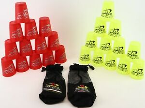 2 Pack Official Speed Stacks Stacking Cups Game + Mesh Carry Bag - Red + Neon