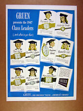 1947 Gruen Watches 9 Watch Models graduates graduation gift art vintage print Ad