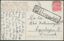 """STOCKINBINGAL"" cds of July 1911 tieing 1d Shield on postcard to DENMARK"