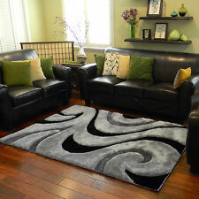 5x7 Contemporary Luxurious Silver Gray Black Carved Shag Rug