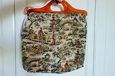 Vintage Geisha Tapestry/Embroidered Tote/Shopping/Hand Bag - Celluloid Handles