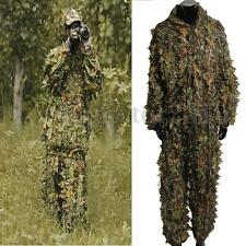 Leaf Ghillie Suit Woodland Camo Camouflage Clothing 3D jungle Hunting Hunt US