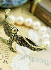 Bronze vintage oiseaux rose perle breloque bracelet élastique