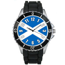 Scotland Saint Andrew's Cross Flag Mens Ladies Black Jelly Silicone Watch S520E