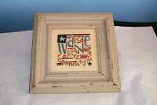 BENT CREEK COMPLETED PATRIOTIC WAVE FLAG CROSS STITCH PICTURE ALPHABET SAMPLER