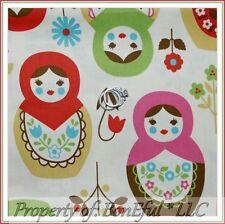 BonEful Fabric FQ Cotton Japan Cream Russian GIRL Matryoshka Nesting Doll Flower