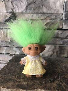 "Wishnik Troll Doll By Uneeda! 3"" Green Hair Amber Eyes! Outfit & Horseshoes!"