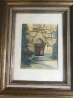 "Vintage ""Church Exterior Scene"" Watercolor Painting - Signed And Framed"