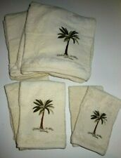 Croscill 6 Piece Towel Set 2 Each Bath Hand Washcloth Ivory Embroidered Palm