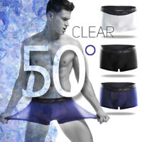 Men's Sexy Underwear Super Elastic Ice Silk Boxer Briefs Shorts Pouch Underpants