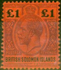 More details for solomon islands 1914 £1 purple & black-red sg38 fine & fresh mtd mint