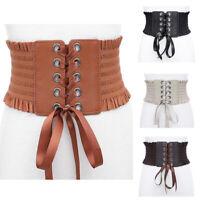 Lace Wide Belts For Women Dress Faux Leather Elastic Waist Belts Corset Belt Hot