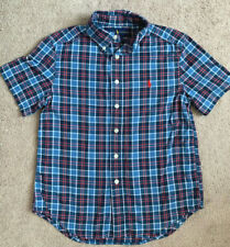Boys Ralph Lauren Blue Red & White Plaid Check Short Sleeve Shirt S Small 8/10