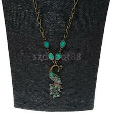Vintage Emerald-green Peacock Pendant Necklace Long Sweater Chain Women