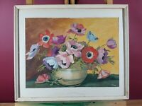 LOVELY ANEMONES STILL LIFE MOTIVE VINTAGE WATERCOLOUR SIGNED CH DATED (19)'58