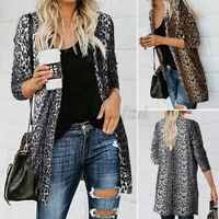 Womens Long Sleeve Leopard Blouse Casual Loose Cardigan Ladies Waistcoat Jackets