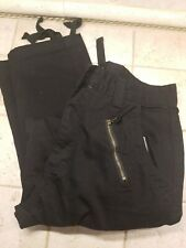 Mens Cargo Drawstring Combat Work Trousers Chino Pants Size 30 Black