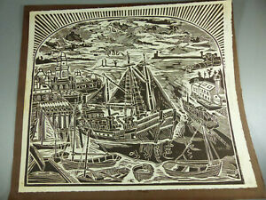 Don Gorvett Woodcut Print Gloucester Harbor Undated 1/20 Signed